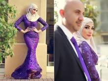 OMYW0203 high neckline mermaid lace wedding dresses with hijab vestidos de noiva colorful muslim wedding dress