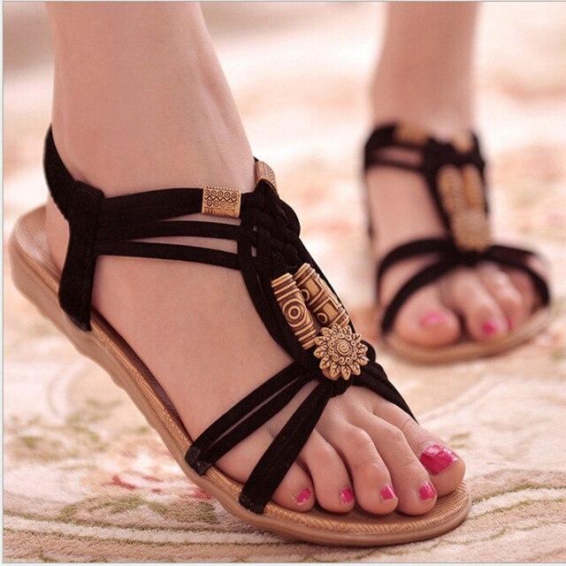 Summer Fashion Flip Flops Women's Beach Sandals String Bead Black Elastic Bands Flat Shoes Gladiator Sandalias Mujer for Women
