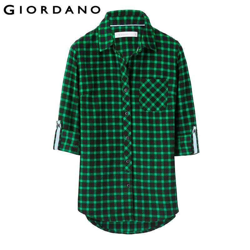 Aliexpress.com : Buy Giordano Women Plaid Shirt Womens Pocket ...