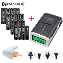 PALO 8pcs AA rechargeable battery batteria+8pcs AAA battery Ni-MH 1.2V batteries with LCD display charger for aa aaa battery palo 4pcs 3000mah ni mh 1 2v aa rechargeable batteries aa battery battery rechargeable battery with lcd display battery charger