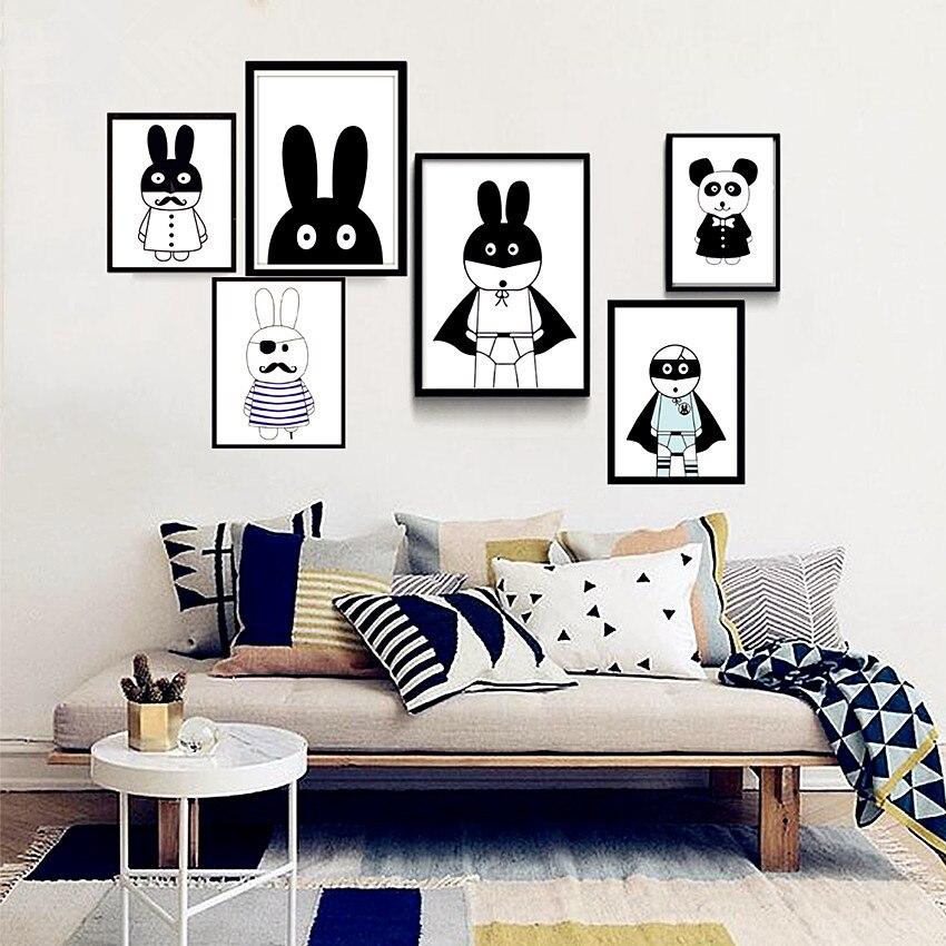 NºPépinière de bande dessinée lapin noir blanc toile peinture mur ...