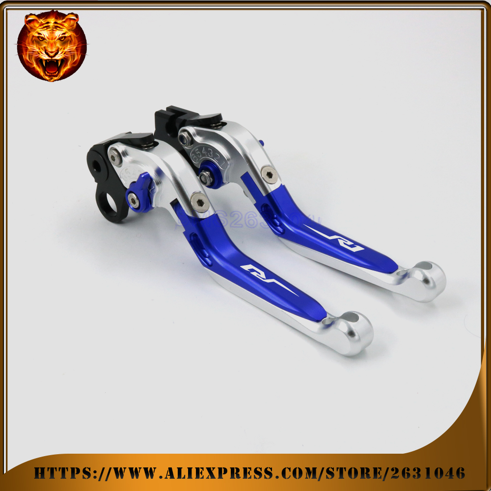 Motorcycle Adjustable Folding Extendable Brake Clutch Lever For YAMAHA YZF R1 YZFR1 NEW STYLE 04 06 08 FREE SHIPPING BLACK BLUE new brand 8 colors optional brake lever black folding