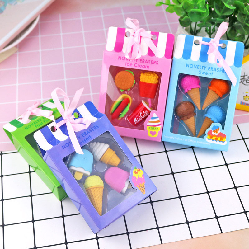 4Pc/set Cute Ice Cream Rubber Erasers Kawaii Cake Pencil Erasers For Kids Gift School Office Supplies Stationery