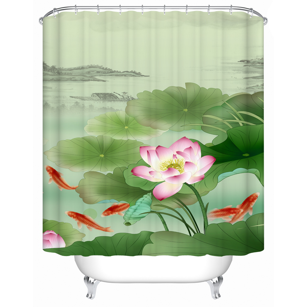 Chinese Style Koi Pond Curtain For The Bathroom Waterproof Thick