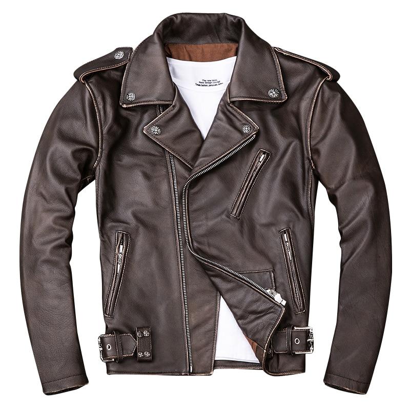 Jacket Coat Biker's Motorcycle Brown Vintage Genuine-Cowhide XXXXL Short Slim Plus-Size