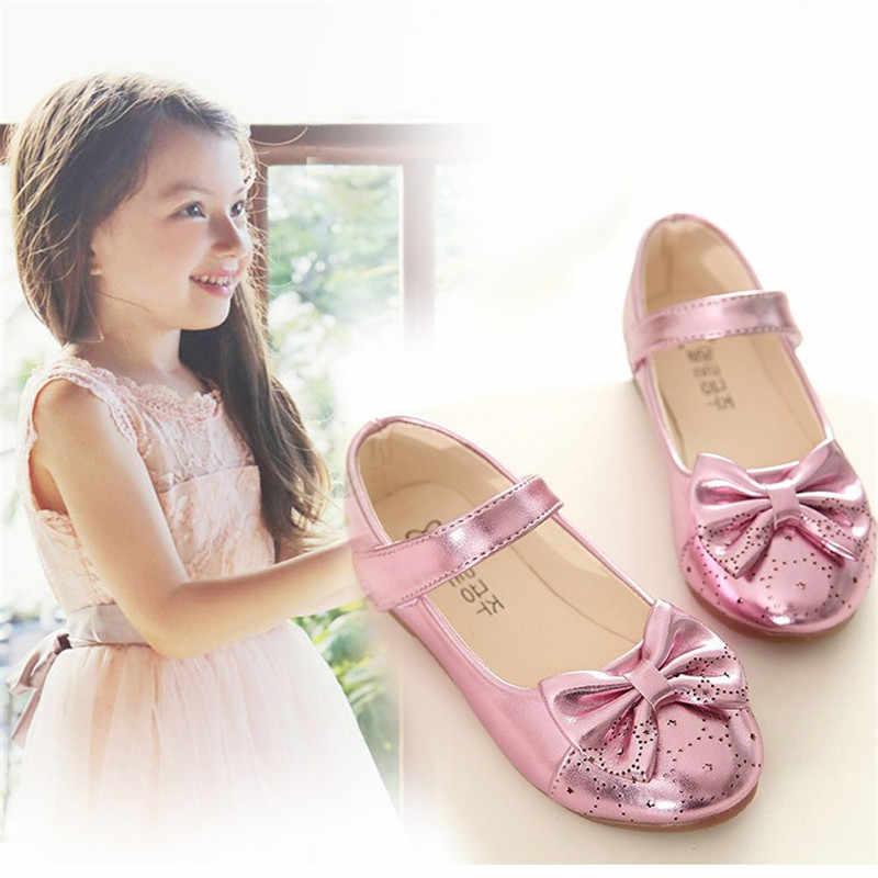 2019 חדש Bowknot בנות נעלי אופנה פראי ילדי עור נעלי תינוק pu נסיכת תלמיד performence ריקוד נעלי ילדים סניקרס