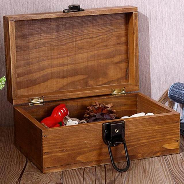 Online Shop Boutique Wood Jewelry Box Desktop Wooden Valuable Objects Secret Grocery Crafts Storage With A Creative Lock