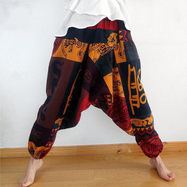 Mens Womens Gypsy Hippie Aladdin Baggy Harem Pants Hammer Trousers Boho Casual Pants Cross Pants 1