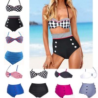 2017 New High Waist Swimsuit Vintage High Waisted Bikini Women Dot Striped Bathing Suit Biquini Swimwear