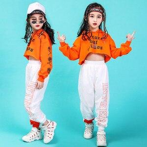 Image 5 - Джазовые танцевальные костюмы, хип хоп детский топ с длинным рукавом и капюшоном, штаны для девочек, одежда в стиле хип хоп, одежда для уличных танцев, сценических шоу