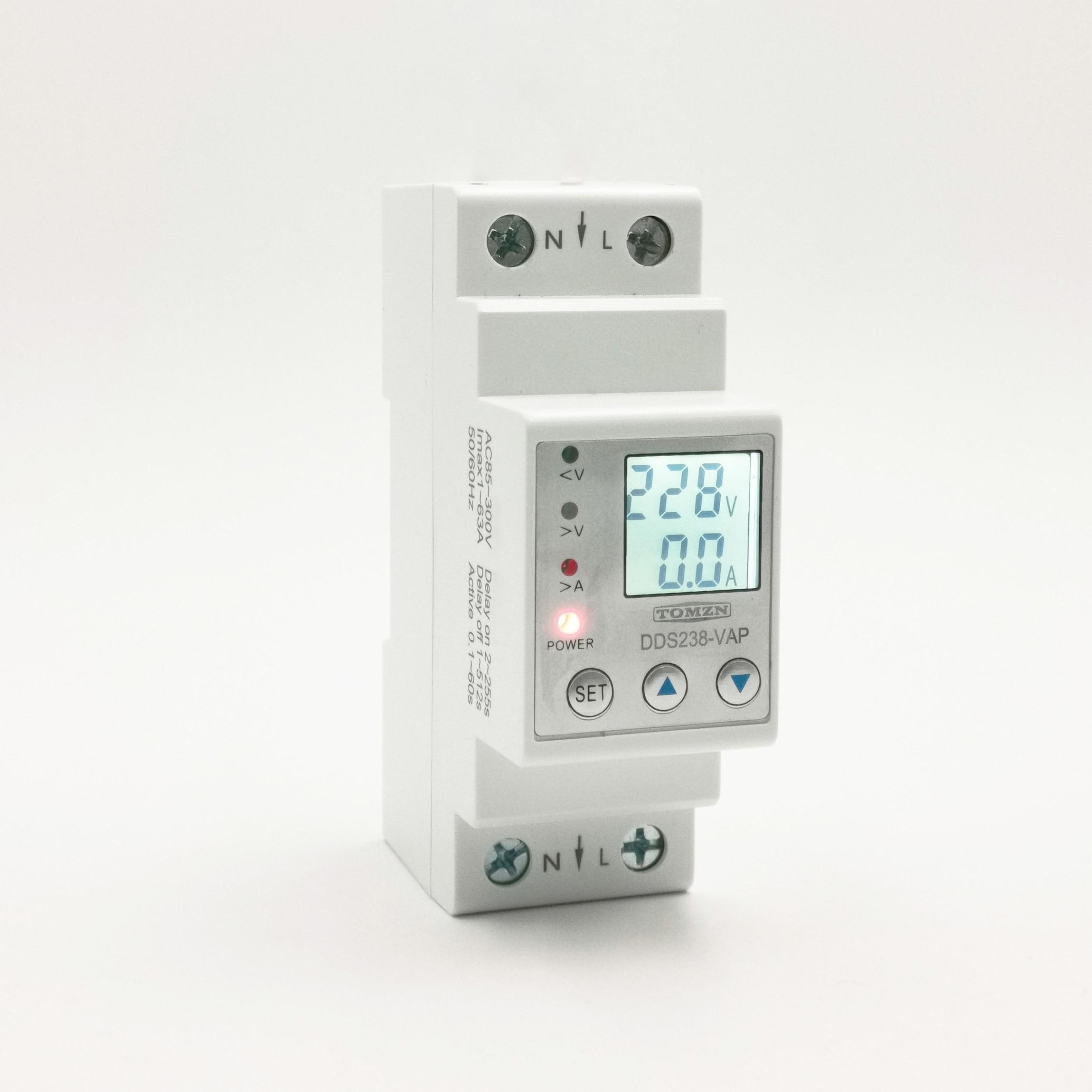 63A 110V 230V Din Rail Adjustable Over Under Voltage Protective Device Protector Current Limit Protection Voltmeter Energy Meter