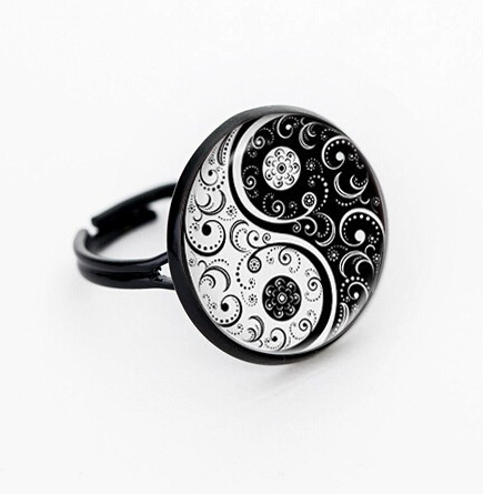 CAR8 Bagua array pattern women ring USA size table can chioce with box or no box for women jewelry gift