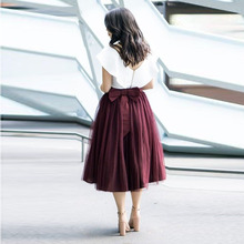 cc871f11ac Sweet Burgundy Tea Length Tulle Skirts Women With Cute Bow On Back Female  Adult Tulle Skirt