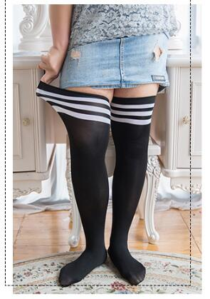 Fashion Striped Knee Socks Women Cotton Thigh High Over The Knee Stockings Plus Size Large