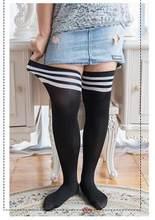 Moda listrado meias de joelho feminino algodão coxa alta sobre o joelho meias mais tamanho grande