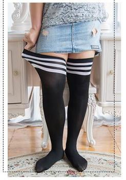 Fashion Striped Knee Socks Women Cotton Thigh High Over The Stockings plus size large