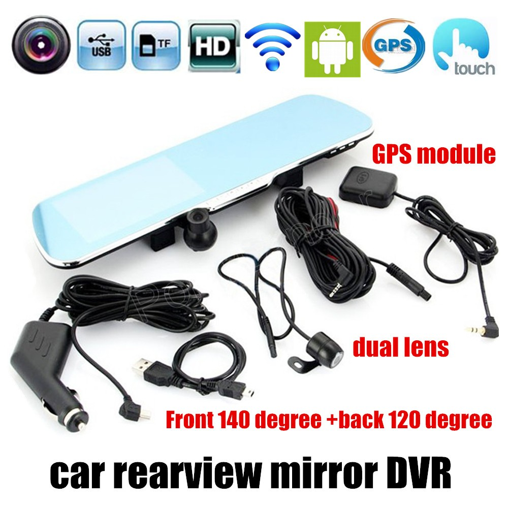 best selling 5 inch Special Car DVR GPS for Android Rearview mirror Navigation Mirror Monitor Dual Lens Camera touch screen hot sale android 5 0 car dvr wireless 3g wcdma b1 2100 dual lens camera rearview mirror gps navigation 7 0 ips touch screen