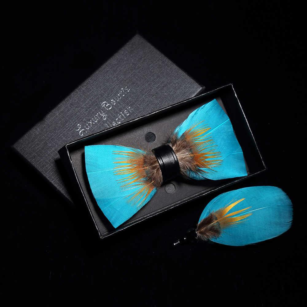 JEMYGINS оригинальная однотонная перьевая брошь для галстука-бабочки, набор для мужчин, свадебный подарок, модный кожаный галстук-бабочка ручной работы, s булавка, подарочная коробка