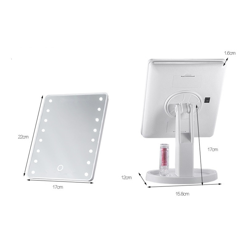 LED Light Makeup Mirror Professional Vanity Makeup Mirror With 16 LED Lights Adjustable Countertop 180 Rotating Makeup Tool