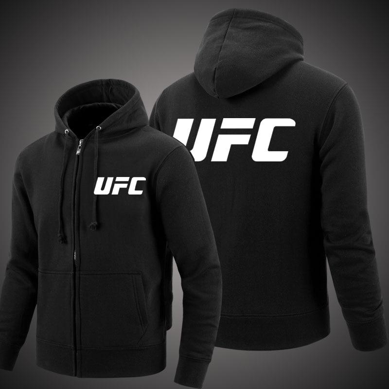 MIDUO 2018 Printemps et Automne MMA UFC Vêtements Fermeture Éclair À Capuchon Hommes De Mode À Capuchon Polaire Cardigan Hoodies Occasionnels Manteau Tops