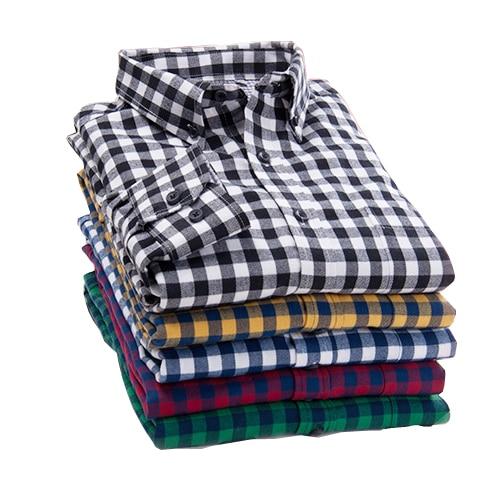Новинка 2017 года Осень Марка Для Мужчин's Рубашки в клетку мужской теплая рубашка с длинными рукавами плюс Размеры молодежи офисные Бизнес Повседневная рубашка Для мужчин