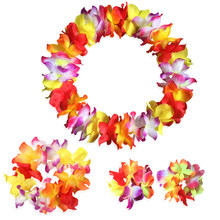 4pcs/Set Hawaiian Artificial Flower Leis Garland Necklace Fancy Dress Party Hawaii Beach Fun Flowers DIY Party Beach Decoration(China)
