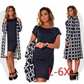 5XL 6XL large 2017 spring and autumn new dress black dress to increase the small ladies clothing lattice groove Vestidos