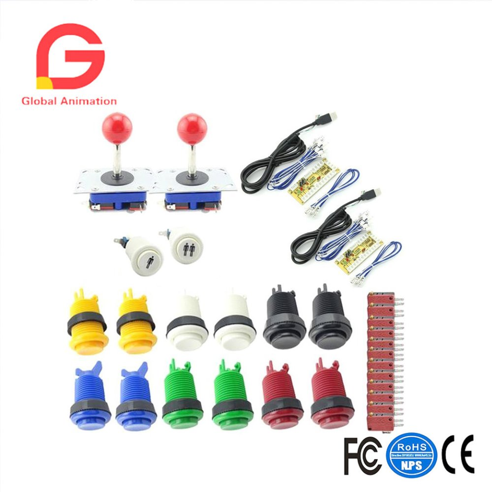 Arcade Button and Joystick DIY KIT for 2 players PC PS3/2 IN 1 to arcade joystck interface USB 2 player to Jamma Joystick Button