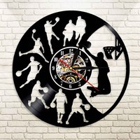 LED Wall Clock Modern Design 7 Color Change Sport Theme Basketball Vinyl Record Hanging Watch Wall Clocks Home Decor Silent