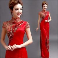 2017 Disegno Rosso Alta fessura broccato Ricami In Oro cinese oriental abiti lunghi in stile orientale da sposa Formal dress Gown