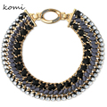 New KOMi Colier Femme 2016 Hand-Made Alloy Chunky Necklace Black Crystal Rhinestone Women Fashion Big Chain Necklace N-130