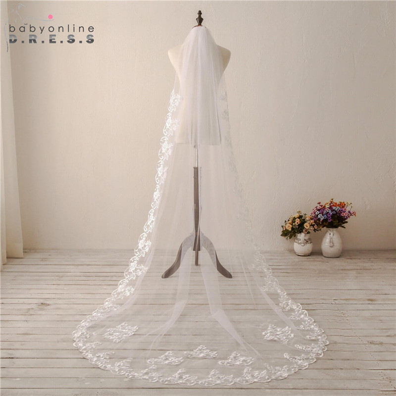 Voile Mariage 3M Lace Edge Cathedral Wedding Veil With Comb Soft Tulle Bridal Veil Long Cheap Wedding Accessories Veu De Noiva