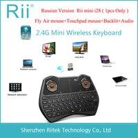 2.4 גרם rf i28 rii mini wireless מיזוג עכבר מקלדת פריסה רוסית משטח מגע עכבר עם תאורה אחורית led קומבו לandorid הטלוויזיה box מחשב teclado