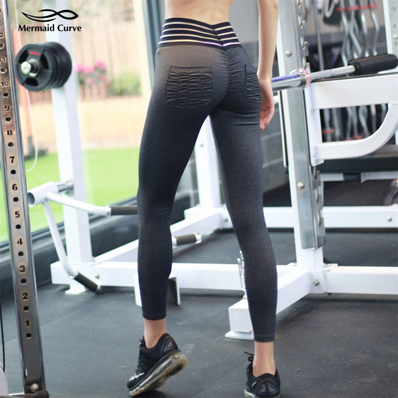 Mermaid Curve 2018 New Waist Hollow Design Women Yoga Pant -3985