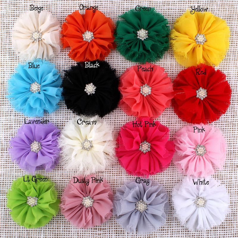 200pcs lot 3 16Colors Vintage Lovely Artificial Frayed Chiffon Hair fabric Flowers With Bling Rhinestone Buttons