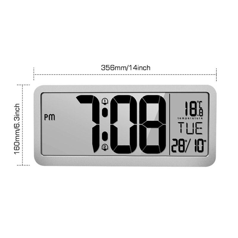 Horloge murale numérique à Volume réglable alimentée par batterie avec 2 réglages d'alarme grande horloge d'affichage à cristaux liquides - 5