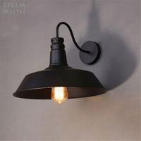 Vintage gooseneck wall light iron black lampshade E27 110V 220V wall lamp Edison bulb sonces for decor goose neck luminarias