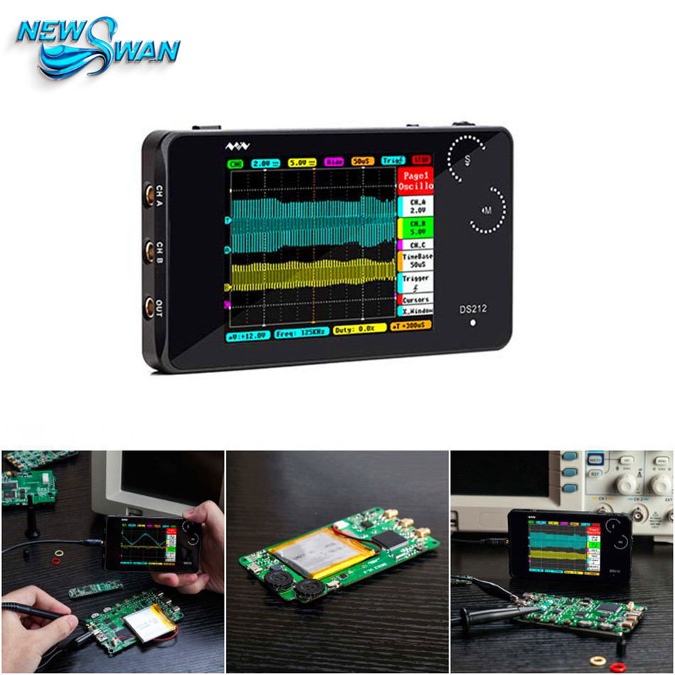 DS212 Mini Pocket Size LCD Digital Portable Storage Oscilloscope Nano Handheld Bandwidth 1MHz Sampling Rate 10MSa/s Thumb Wheel image
