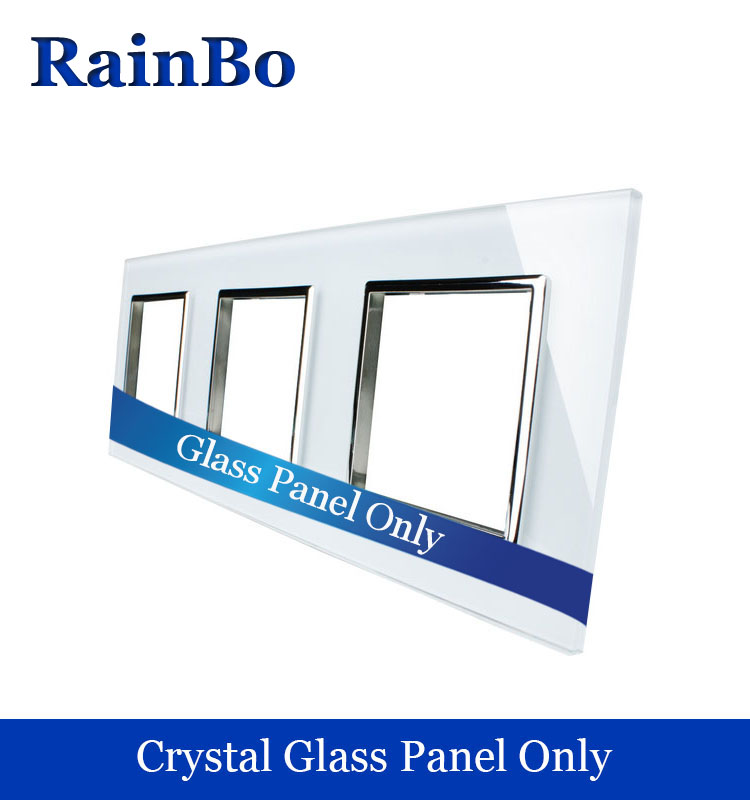 RainBo Free shipping Luxury triple Crystal Glass Panel 3Frame 222mm*80mm EU Standard wall socket DIY Accessories A3888W/B1