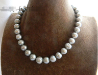 >>>>17.5'' 12mm Round Gray Freshwater Pearl Silver Necklace