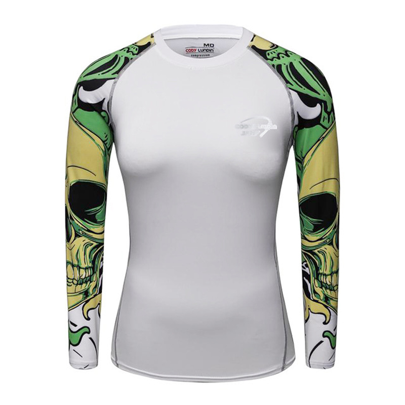 Lady Fitness Compression Shirt 3D Printed Women's Slim Long MMA Rashguard Cosplay Costume for Women Tops Female