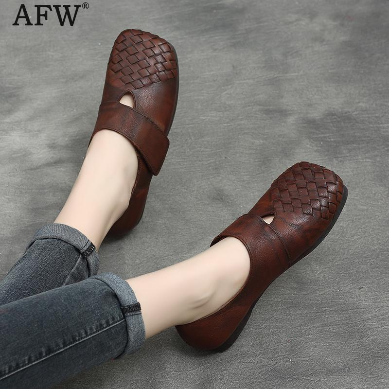 AFW Women Loafers Soft Leather Casual Shoes Women Spring 2018 Low Heel Slip On Lazy Shoes Genuine Leather Loafers Women Handmade tyawkiho genuine leather women sandals low heel white casual leather summer shoes 2018 handmade women leather sandal soft bottom
