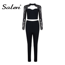 Long Sleeve Hollow Out Formal Elastic Waist Skinny Pant Set