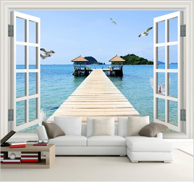 customized 3d Photo wallpaper murals modern window landscape painting sofa tv background wall living room decor 3d wallpaper
