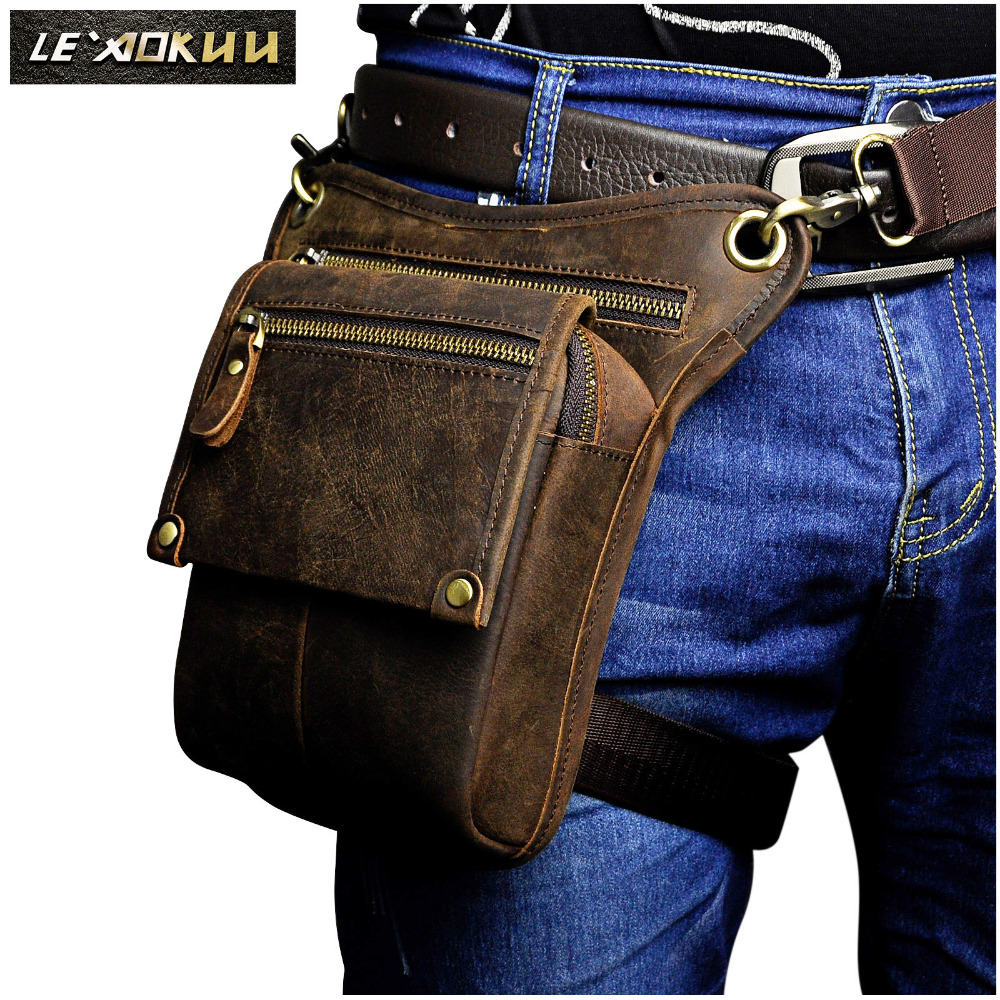 Crazy Horse Leather Men Multifunction Design Small Messenger Bag Fashion Travel Belt Waist Pack Drop Leg Bag Pouch Male 211-4-d