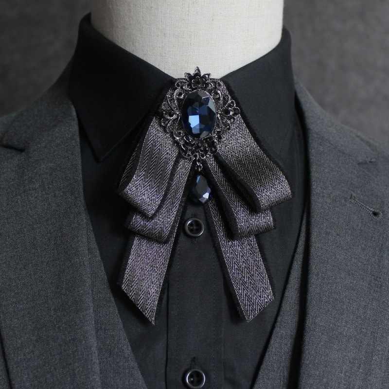 PYJTRL Inghilterra Stile del Signore di Cristallo Bowknot Cravatta Da Sposa Sposo Groomsman Banchetto Diamante Griglia Uomo Abbigliamento Accessori