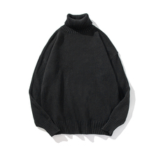 Sweater winter high collar warm thick sweater mens brand slim pullover loose long sleeves knitted