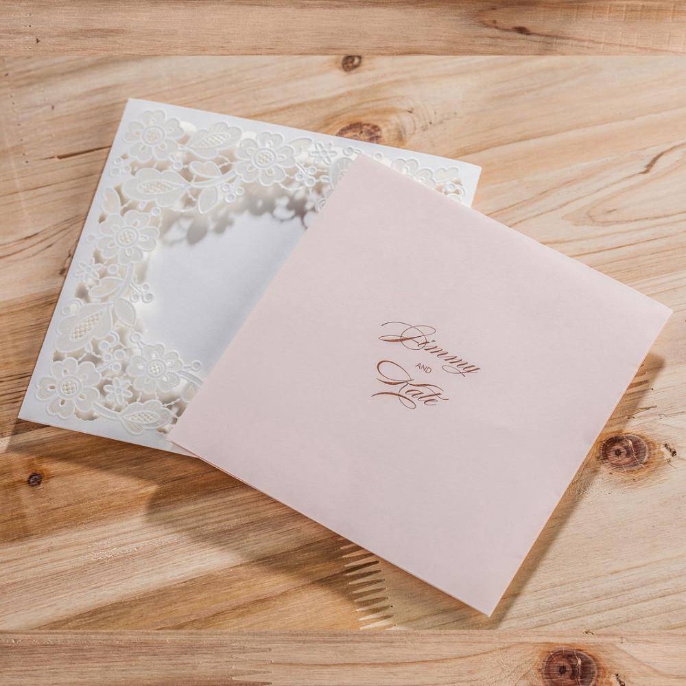 WISHMADE Laserski rez vjenčanja pozivnice kartice Elegantno Cvijeće - Za blagdane i zabave - Foto 2