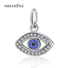 2018 Newest Authentic 925 Sterling Silver Clear CZ Crystal Blue Eye Dangle Charm Beads Fit Pandora Bracelet  DIY Jewelry