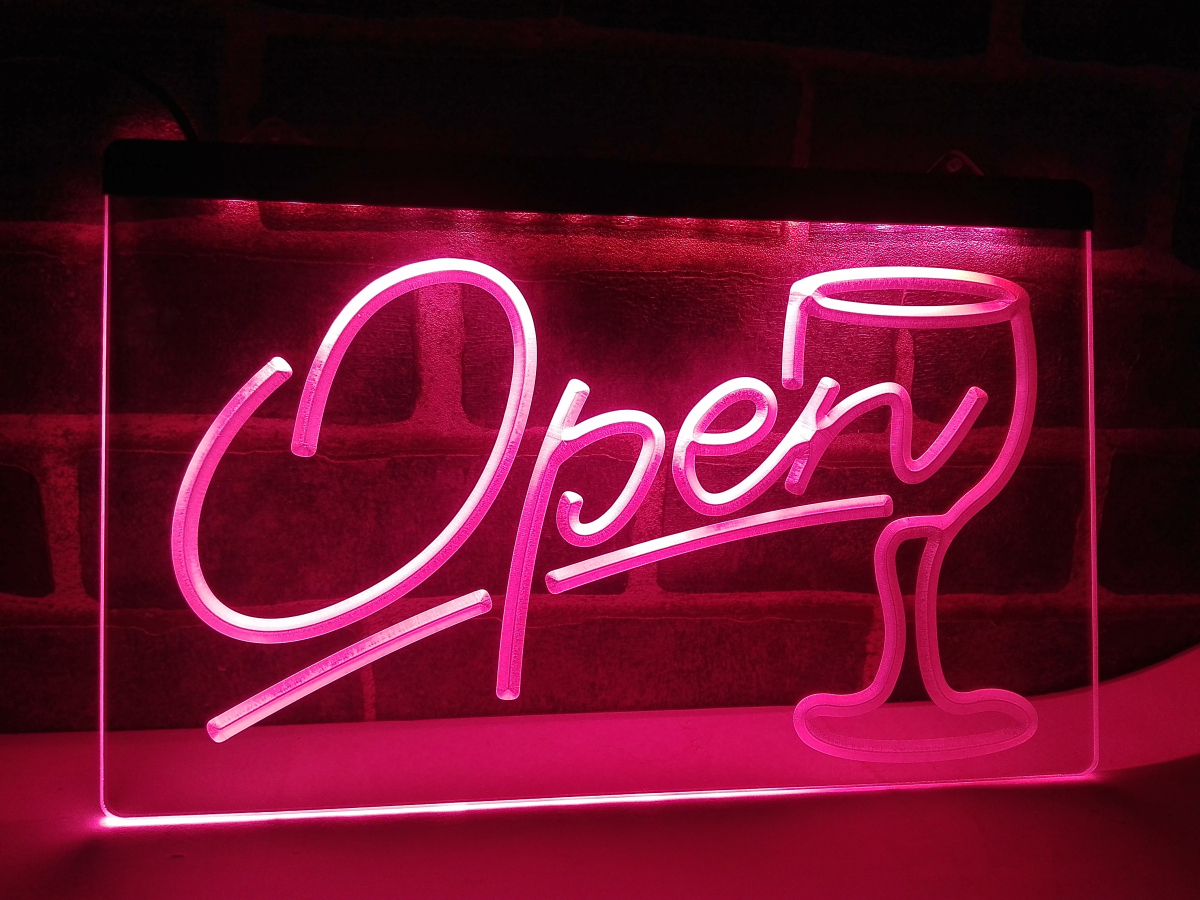 lb536 script open glass cocktails bar led neon light sign home decor